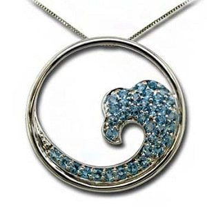 Blue Topaz Wave Pendant